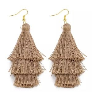Beach Taupe  Boho 3 Layer Tassel Earrings